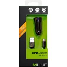 MLine Kfz-Lader mit USB-C-Kabel schwarz